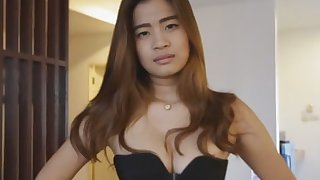 Horny dude bangs the hairy pussy of a slutty Asian babe with prefect tits