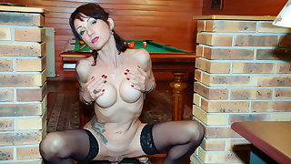 LA COCHONNE - French girl Lyna Cypher gets her mature asshole fucked by the pool table