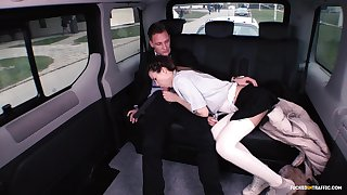 FUCKED IN TRAFFIC -  Naughty School girl Sindi Shine fucked by driver in traffic sex