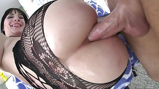 Superb brunette anal extreme along man with giant penis