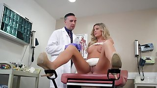 Doc pulls out cock for young blonde's needy pussy