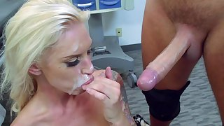 Blonde nurse gets jizz on face after severe fuck