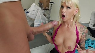 Mommy gets tits jizzed hard by the step son