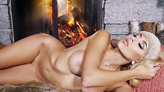 Nude angel loves to rub her hard nipples