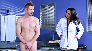 Busty female doc craves for young lad's huge penis