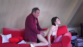 Busty young babe enjoys older man to fuck her