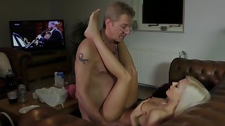 Senior hunk enjoys young pussy the hard way