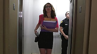 Office secretary and guard have a morning encounter