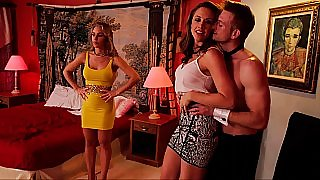 Sexy wives can't resist one handsome guy & cock