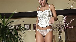 Czech model Satin showing off her perfect curves in lingerie