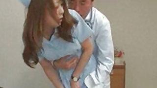 Lusty doctor fondles Japanese nurse luscious hooters