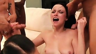 Hot babe in a gang bang