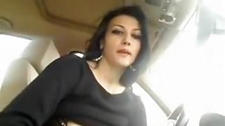 Elegant brunette shows her body in a car