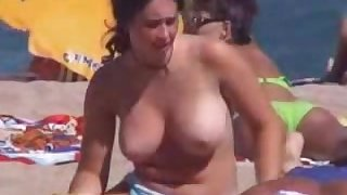 Big boobs at beach