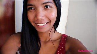 Timy Asian Thai Teen Heather Deep films everyself giving a deepthroat throatpie