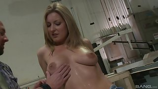 Elegant blonde decides to show the bald guy her cock riding skills