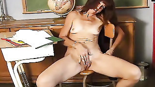 Cute mature teacher shows off her thick pussy lips