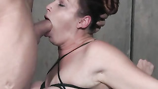BDSM slut vibrated as master fucks her face