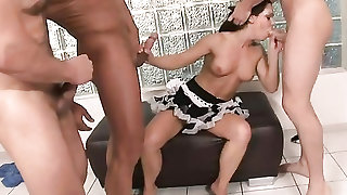 Three dicks need sucking from a Euro whore
