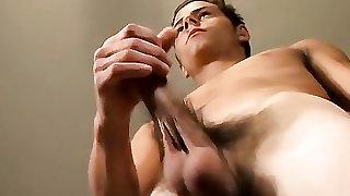 Slender smooth chest boy beats off