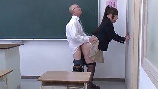 Incredible Japanese chick Ai Sayama, Karen Haruki in Crazy oldie, college JAV scene