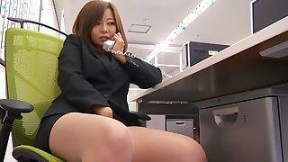 Crazy Japanese whore Kaori in Exotic secretary, phone JAV movie