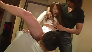 Fabulous Japanese girl Sara Kudo in Incredible threesomes, panties JAV clip