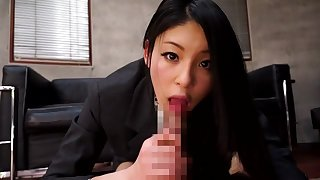 Amazing Japanese chick Kanon Takigawa in Incredible blowjob, office JAV movie
