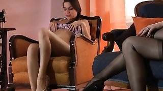 Stockings lesbos rubbing