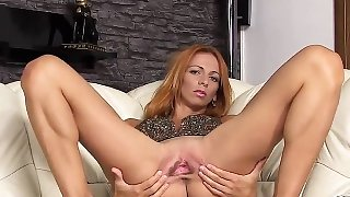 Horny czech chick opens up her narrow snatch to the bizarre