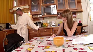 Undressing Charlys Bella in the kitchen for some wild doggy banging