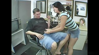Hairdresser whore sucks clients dick after cutting his hair