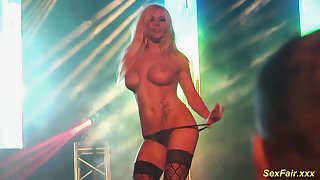 Extreme hot busty German Milf lapdance on public sex fair show stage