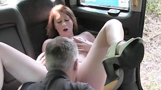 Hot ass redhead babe pounded by fraud driver in public
