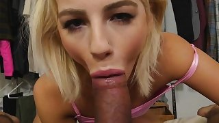 Bella Rose pulls up step bros big cock and suck it