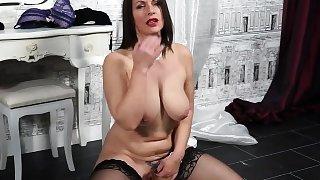 British big breasted MILF fooling around