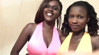 Black sluts sharing long white schlong in bedroom