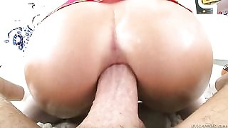 Juelz Ventura with gigantic jugs sucks Mike Adrianos schlong with big desire after she gets assfucked