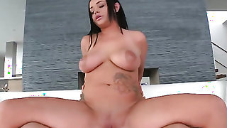 Brunette Rachele Richey with hairless bush cant wait