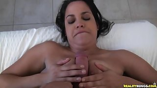 POV blow and titty fuck with a brunette next door