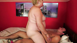 Blonde with giant melons and a lucky guy